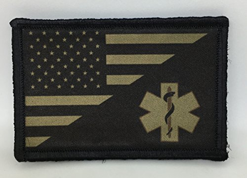 Olive Drab USA FLAG   Medic   EMT Morale Patch. 2x3