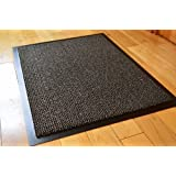 Tamaño mediano gris/negro Felpudo antideslizante de goma respaldado Runner felpudos alfombra PVC Borde Estera De Cocina (60x 90cm) (2'x 3')
