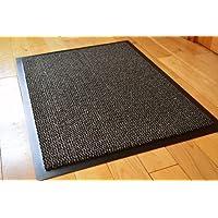 AHOC MEDIUM GREY/BLACK NON SLIP DOOR MAT RUBBER BACKED RUNNER BARRIER MATS RUG PVC EDGED KITCHEN MAT(60 X 90 CM) (2' X 3')