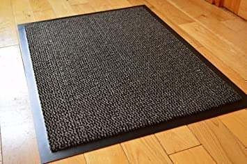 Rugs Supermarket MEDIUM GREY/BLACK NON SLIP DOOR MAT RUBBER BACKED RUNNER  BARRIER MATS RUG