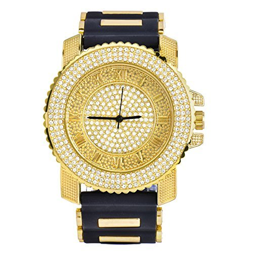 Men Techno Pave Hip Hop Iced Out Bling Diamond Rapper's Gold Silicone Watches 7840 GD