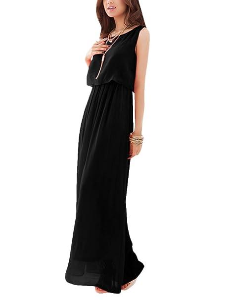 Mujer Largo Vestido Gasa Vestidos Sin Mangas Vestido De Fiesta De Graduación De Playa Negro XX