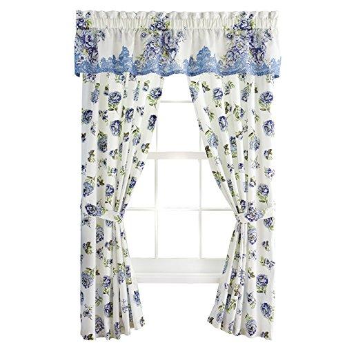 "UPC 842022185484, Nicole Blue Floral Rod Pocket Window Curtains, Blue, 84"" Panel"