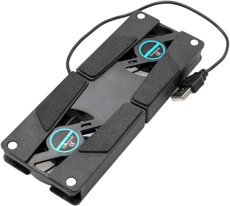 Aiming Escritorio del Ordenador portátil Soporte de Doble Ventilador de refrigeración del Ordenador portátil del Soporte del Estante Plegable USB Negro