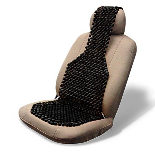 Zone Tech Wood Beaded Seat Cushion (Black) (Comfort Car Seat Covers)