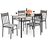 Best Choice Products 5-Piece Rectangle Faux Marble Dining Table Set w/ Steel Frame and 4 Upholstered Chairs - Black/Gray