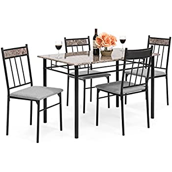 Best Choice Products 5-Piece Rectangle Faux Marble Dining Table Set w/Steel Frame  sc 1 st  Amazon.com & Amazon.com - Best Choice Products 5-Piece Rectangle Faux Marble ...