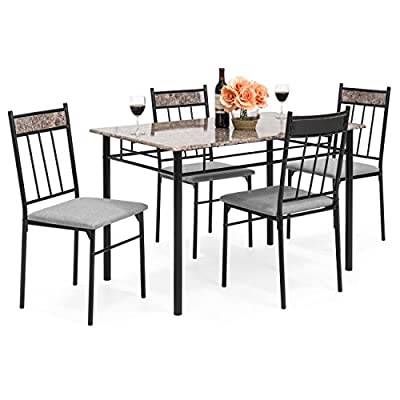 Best Choice Products 5-Piece Rectangle Faux Marble Dining Table Set w/Steel Frame and 4 Upholstered Chairs - Black/Gray - Complete with a simple yet elegant table and 4 matching dining chairs upholstered for comfort Crafted with MDF table board, a faux marble table top, and a steel frame for long lasting durability The faux marble tabletop and dark-finished legs add a modern and upscale feel to your dining space - kitchen-dining-room-furniture, kitchen-dining-room, dining-sets - 51N9KKRQCfL. SS400  -
