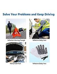 Sailnovo Roadside Assistance Auto Emergency Kit   Bolsa cuadrada   Contiene cables de puente, herramientas, triángulo de seguridad reflectante y mucho más. Accesorio ideal para el invierno para su coche, camión, camión.