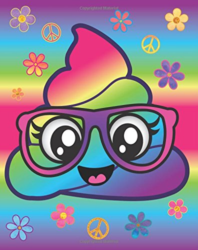 Rainbow Emoji Poop Nerd Journal: Cute Pink Glasses Nerdy Poop Emoji Diary Journal with 160 Lined Pages, 8x10 inch Blank Notebook with Rainbow Design Softcover for Girls, Boys, Kids & Adults