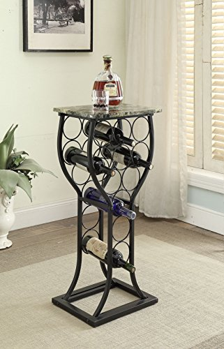 (Black Finish and Marble Look Top with 11 Bottle Holder Wine Organizer Rack Kitchen)