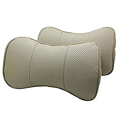 (SZSS-CAR 2 Pcs Genuine Leather Bone-Shape Car Seat Neck Rest Headrest Comfortable Pillow Cushion for VW Volkswagen Polo Scirocco CC Magotan Passat Golf(Beige))