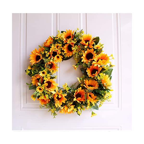 Landy Artificial Sunflower Summer Wreath – 16 Inch Decorative Fake Flower Wreath with Yellow Sunflower and Green Leaves for Front Door Indoor Wall Décor