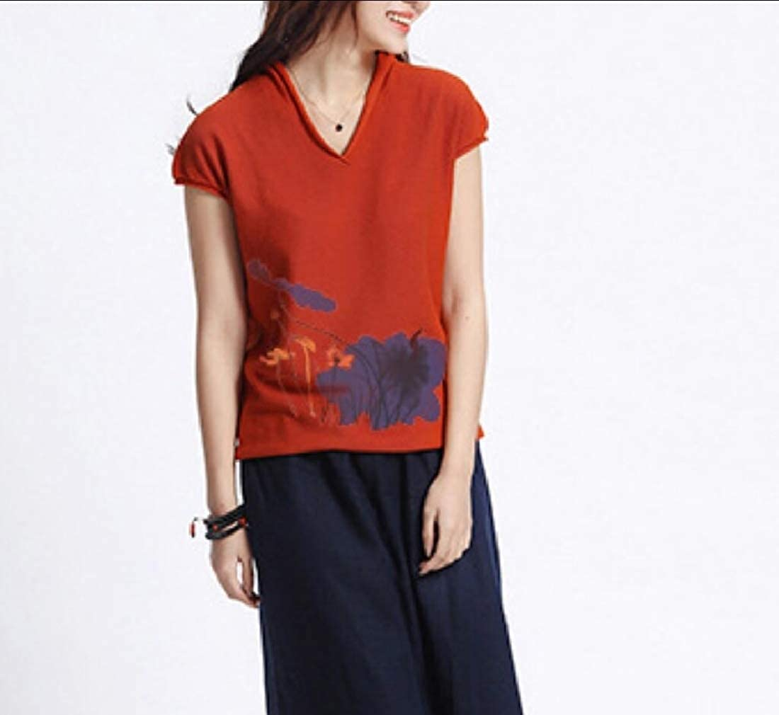 Abetteric Womens Chinese Style Print Tee Cap Sleeve Plus Size Shirt Blouse