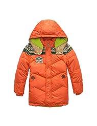 Pretty Tiger Children's Zip Winter Warm Hooded Down Jacket Orange