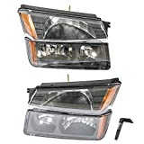 2003 avalanche headlight assembly - 4Pcs Headlights Assembly + Bumper Signal Parking Lamps for 2002 2003 2004 2005 2006 Chevrolet Avalanche 1500/2500 Driver Passenger Side Replacement Headlamps Driving Light Black Housing Clear Lens