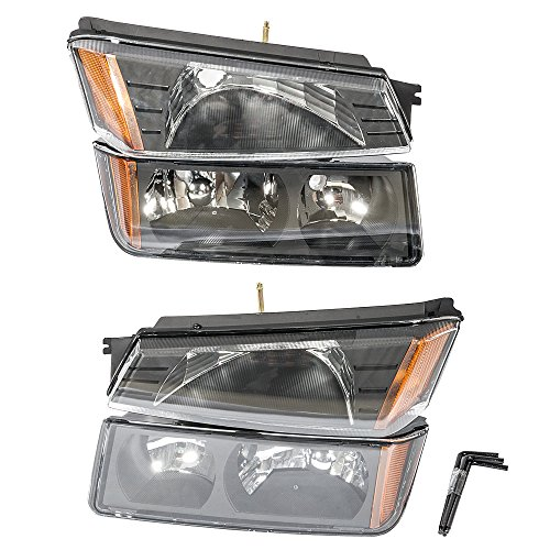 2006 Chevrolet Avalanche Bolt (4Pcs Headlights Assembly + Bumper Signal Parking Lamps for 2002 2003 2004 2005 2006 Chevrolet Avalanche 1500/2500 Driver Passenger Side Replacement Headlamps Driving Light Black Housing Clear Lens)