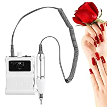 30000 RPM Nail File Drill Machine, Portable Rechargeable Grinding Polishing Buffer and Smooth Nails Device Tool Set (White)
