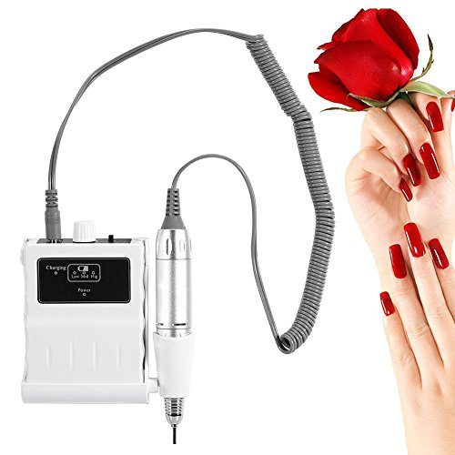 30000 RPM Nail File Drill Machine, Portable Rechargeable Grinding Polishing Buffer and Smooth Nails Device Tool Set (White) by ZJchao