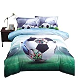 Lebather Green 3D Soccer Ball Background Bedding Cotton 4-Piece Duvet Cover Set with 2 Pillow Sham,1 Flat Sheet,1 Duvet Cover ,King Size