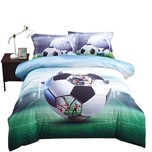 Lebather Green 3D Soccer Ball Background Bedding Cotton 4-Piece Duvet Cover Set with 2 Pillow Sham,1 Flat Sheet,1 Duvet Cover ,King Size by Lebather