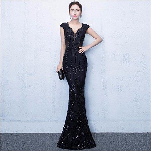 WBXAZL Vestido de Noche, Vestido de Cola de pez, Ladies' Kit de capacitacion, Vestido de Moda Anual Black