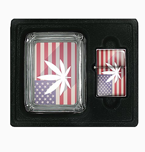 American-Weed-Legalize-420-Square-Glass-AshTray-and-Oil-Lighter-Set
