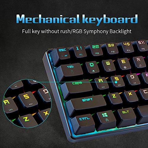 Portable RGB Gaming Office Magic Refiner MK14 Mechanical Keyboard USB 68 Keys Backlit Anti-ghosting Keyboard for PC Laptop(Blue Red Brown Switch) (Blue Switch)