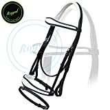 Royal Fancy Anatomic Raised White Padded Bridle with PP Rubber Reins./ Vegetable Tanned Leather./ Stainless Steel Buckles.