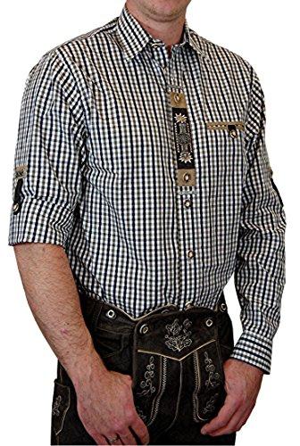 Hochwertiges OS Trachtenhemd Harry in verschiedenen Ausführungen, Größe:Halsgröße 41/42 (L);Farbe:schwarz - grün