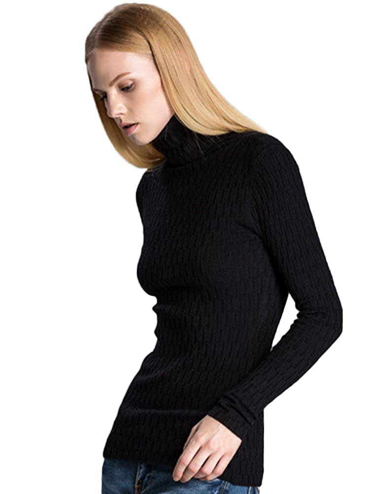 SK Studio Womens Solid Color Slim Fit Casual Turtleneck Pullover Sweater