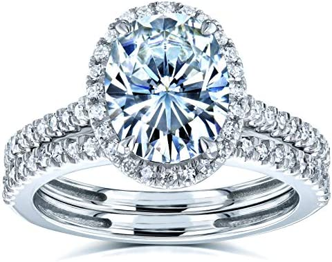 Kobelli Oval Moissanite Halo Bridal Rings Set 2 3/8 CTW 14k White Gold (FG/VS, GH/I)