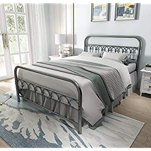8013G4 80104 Vintage Sturdy Queen Size Metal Bed Frame with Headboard and Footboard