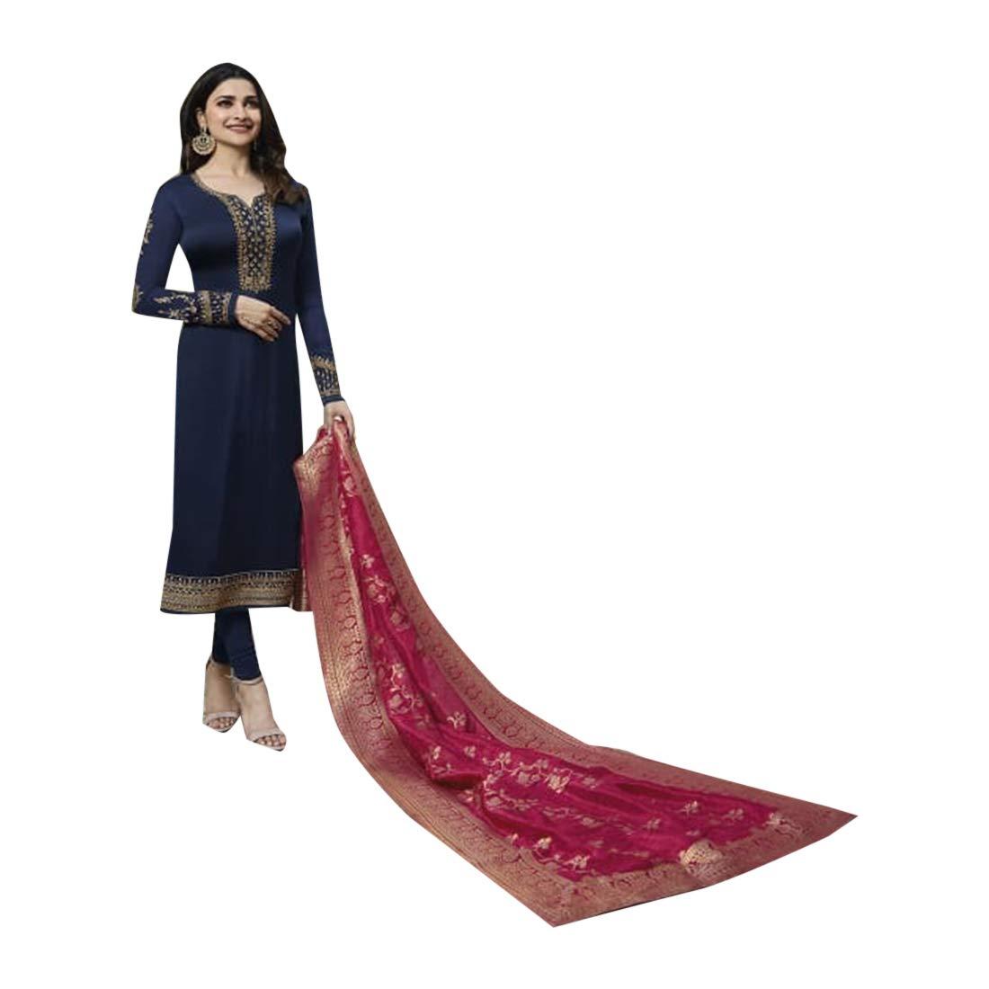 307f88f52d Amazon.com: Navy Blue Designer Festive wear Satin Georgette Salwar Kameez  Suit with Banarashi Dupatta Indian Women dress 7749: Clothing