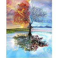 iDream Home Decoration 5D Diamond Painting Rhinestone Seasons Tree DIY Mosaic Wall Decor (30cm x 40cm)