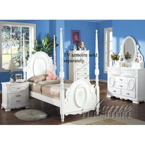 Acme Set Bedroom Set (Flora White Flower 4PC Girls 4 Post Full Size Bedroom)