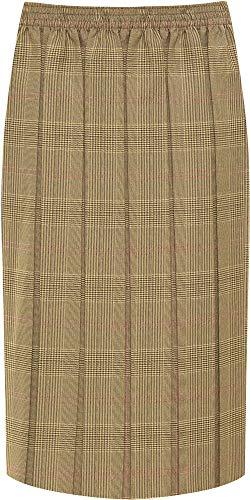 WearAll Women's Plus Checked Tartan Print Elasticated Pleated Midi Skirt - Brown Pink - US 16-18 (UK 20-22) (Detail Pleated Skirt)