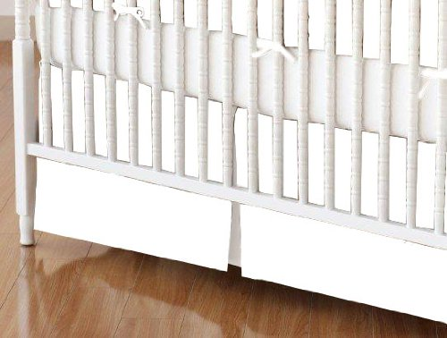 SheetWorld - Crib Skirt (28 x 52) - Solid White Woven - Made In USA by SHEETWORLD.COM