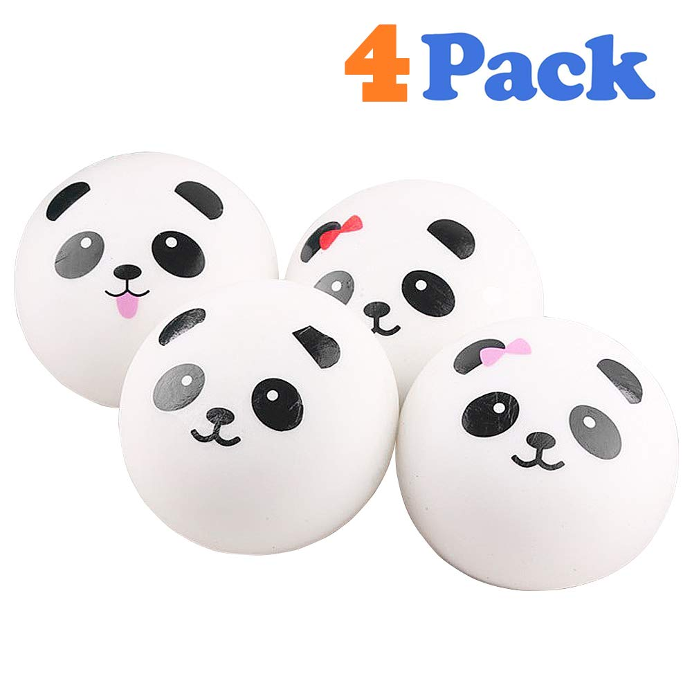 VCOSTORE 4 Pcs Squishy Panda Buns Pack with Phone Straps, Slow Rising Squishies Panda Soft and Scented Squeeze Panda Ball Stress Relief for Adults Kids Gift Bag Fillers