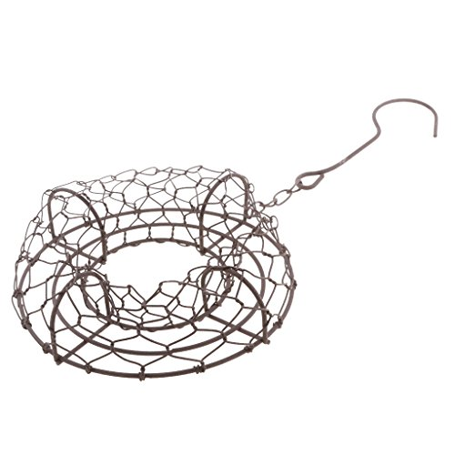 Fityle 21cm Rustic Iron Wire Wreath Frame Succulent Pot Iron Hanging Planter Plant, Add a romantic touch to your garden or lovely house 21 Rustic Iron