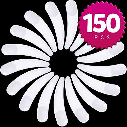Teenitor 150 PCS Mini Disposable Make Up Plastic Spoon Spatula, Smooth Waxing Spatulas Cosmetic Facial Cream Mask Spatula Mixer White, 2.2 Inch Long