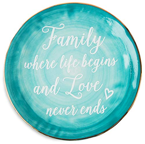 """Pavilion Gift Company Emmaline""""Family Where Life Begins and Love Never Ends"""" Ceramic Decorative Plate, 7"""", Teal"""