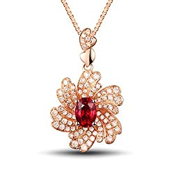 Rose Gold Red Ruby Diamond Necklace Pendant