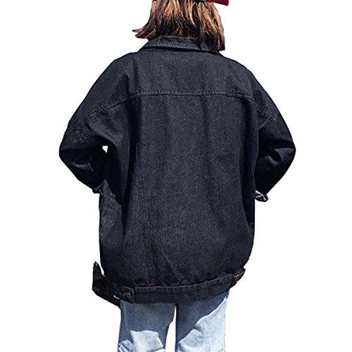 Toping Fine Women Denim Black Jacket Long Sleeve Loose Coats Casual Jeans Jackets Spring Autumn Vintage Girls Outwear by Toping Fine wool-outerwear-coats