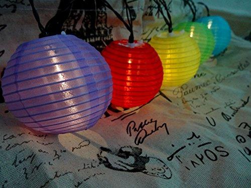 Solar Oriental Light (Mini Skater Mini Oriental Style Nylon String Lights Lantern ,Solar Power Operated , 20 LEDS(Colored)