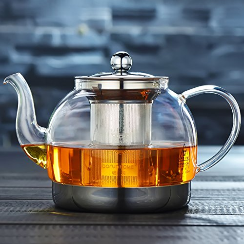 IAN Heat Resistant Good Glass Teapot with Stainless Steel Infuser & Lid, Borosilicate Glass Tea Pots Stovetop Safe, 41 Ounce / 1200 ml (41OZ)