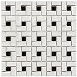 SomerTile FKOMSP20 Retro Spiral Porcelain Floor and Wall Tile, 12.5'' x 12.5'', White/Black