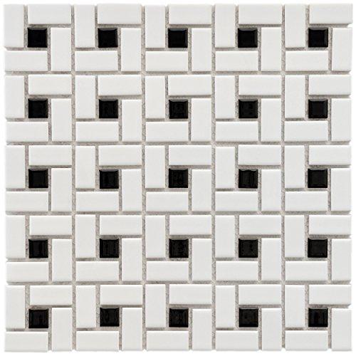 "30%OFF SomerTile FKOMSP20 Retro Spiral Porcelain Floor and Wall Tile, 12.5"" x 12.5"", White/Black"
