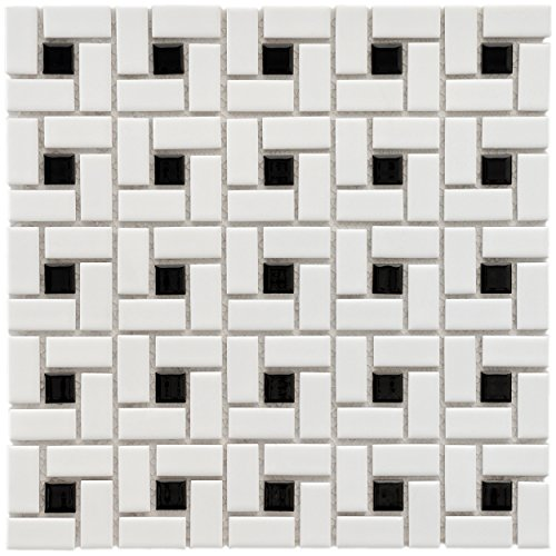 (SomerTile FKOMSP20 Retro Spiral Porcelain Floor and Wall Tile, 12.5