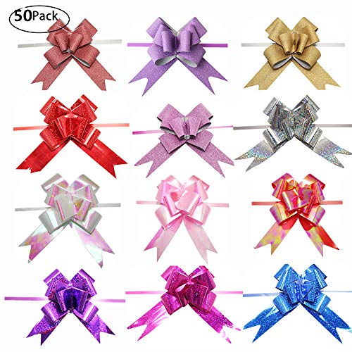 String Bows, Basket Pull Bows, MeetRade 4in 50PACK Elegant Gift Basket Wine Bottles Floral Pull Bows for Birthdays Easter Christmas Wedding Car Decoration Centerpieces Present Wrapping (4in 50P)